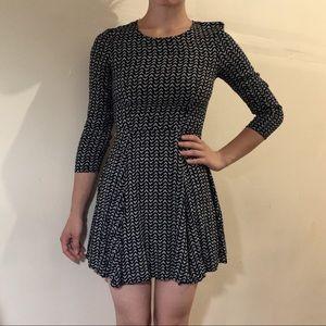 H&M Navy Blue Patterned Dress